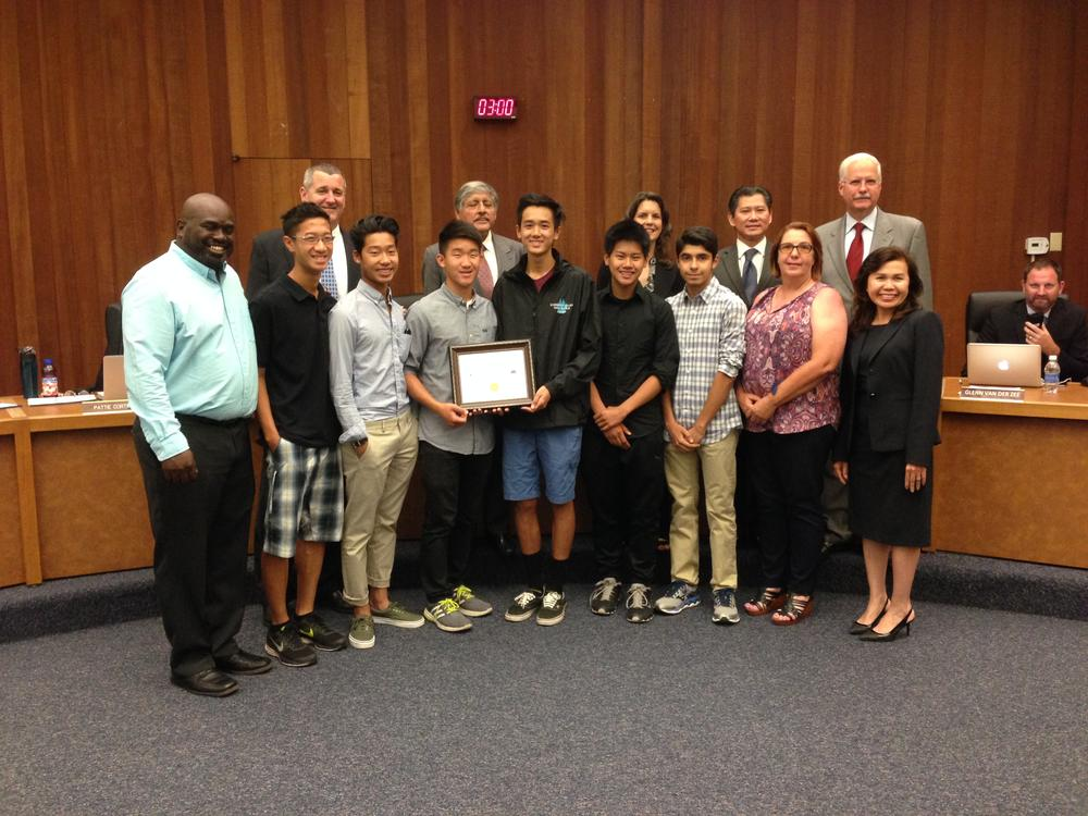 Boys Track Receives Honors from ESUHSD Board of Education