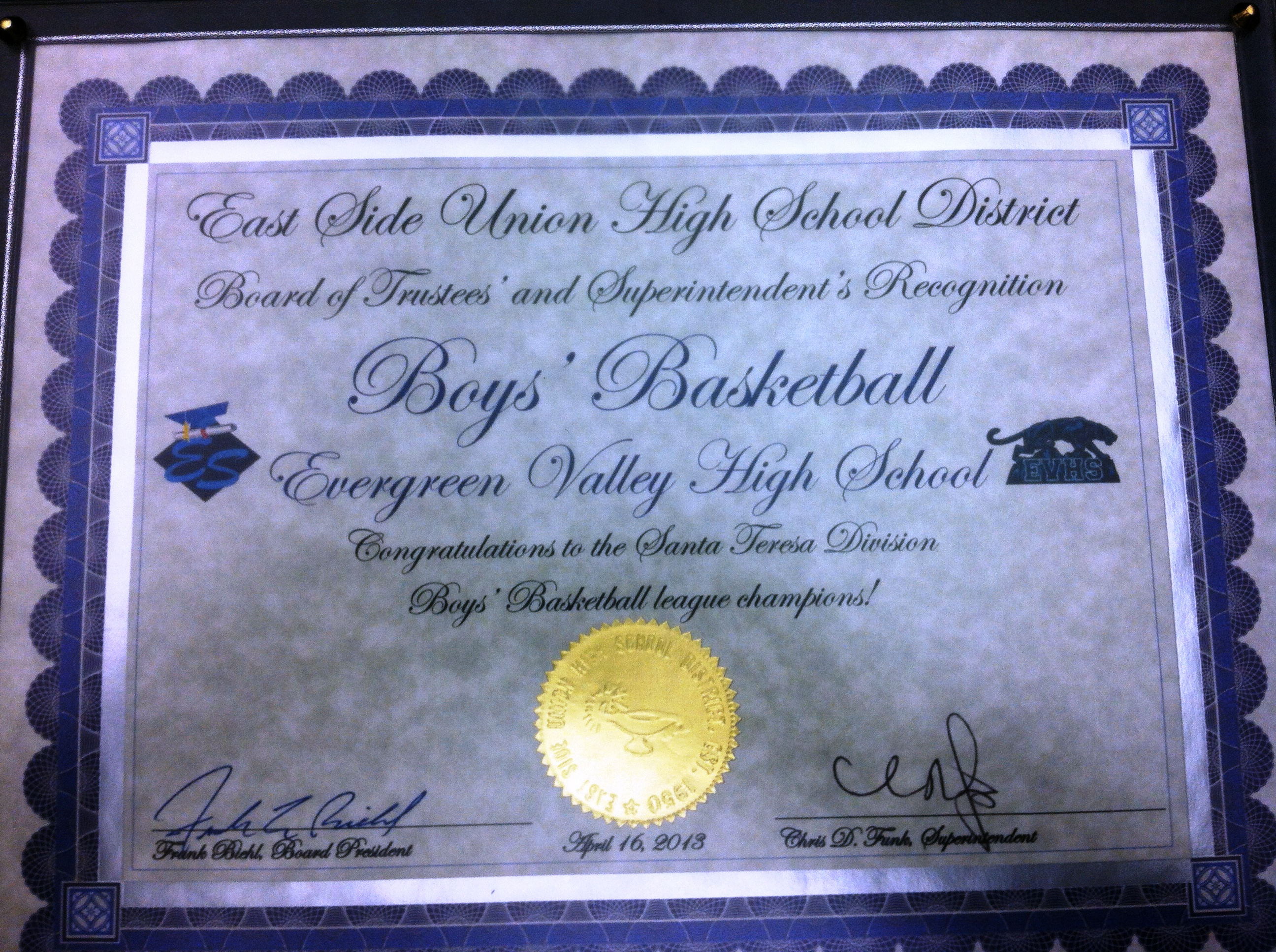 Boys Basketball Recognized by ESUHSD Board Members!